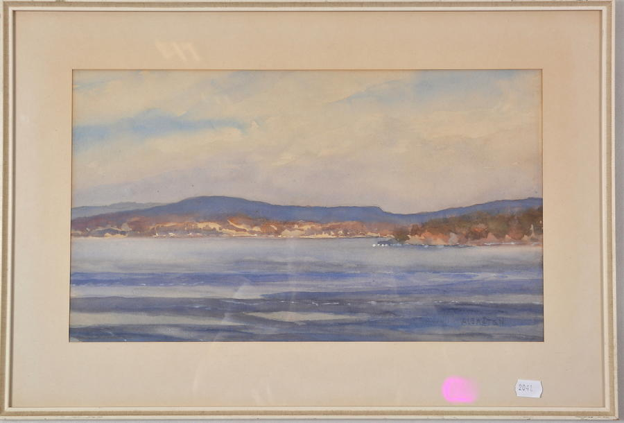 VÅGE ALBRÅTEN watercolour of a coastal landscape