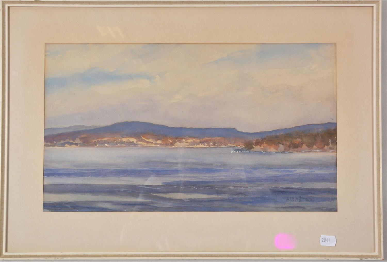 VÅGE ALBRÅTEN watercolour of a coastal landscape