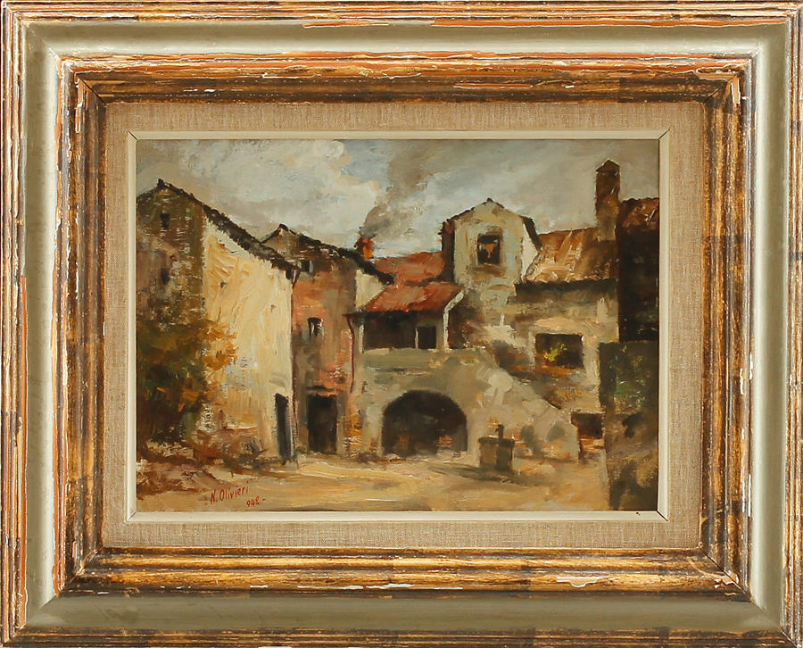 H. OLIVIERI, oil on panel dated 1942