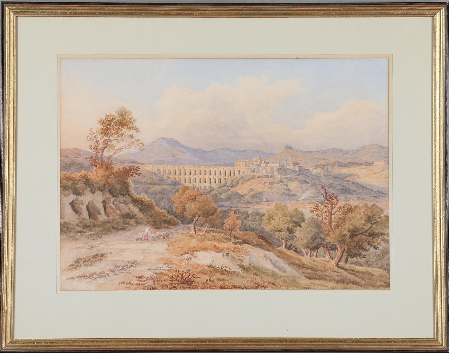 Watercolour of a Roman viaduct 19th c.
