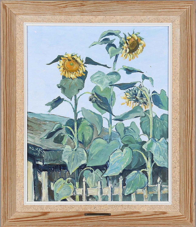 Sunflowers, unknown artist dated 1947