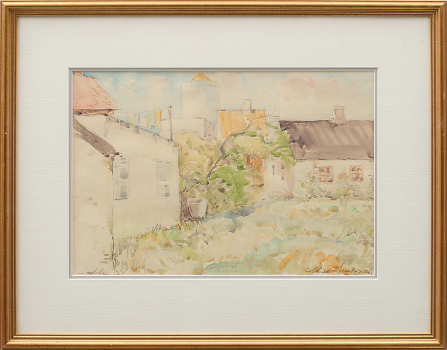 AKSEL LUNDGREN watercolour of a garden.