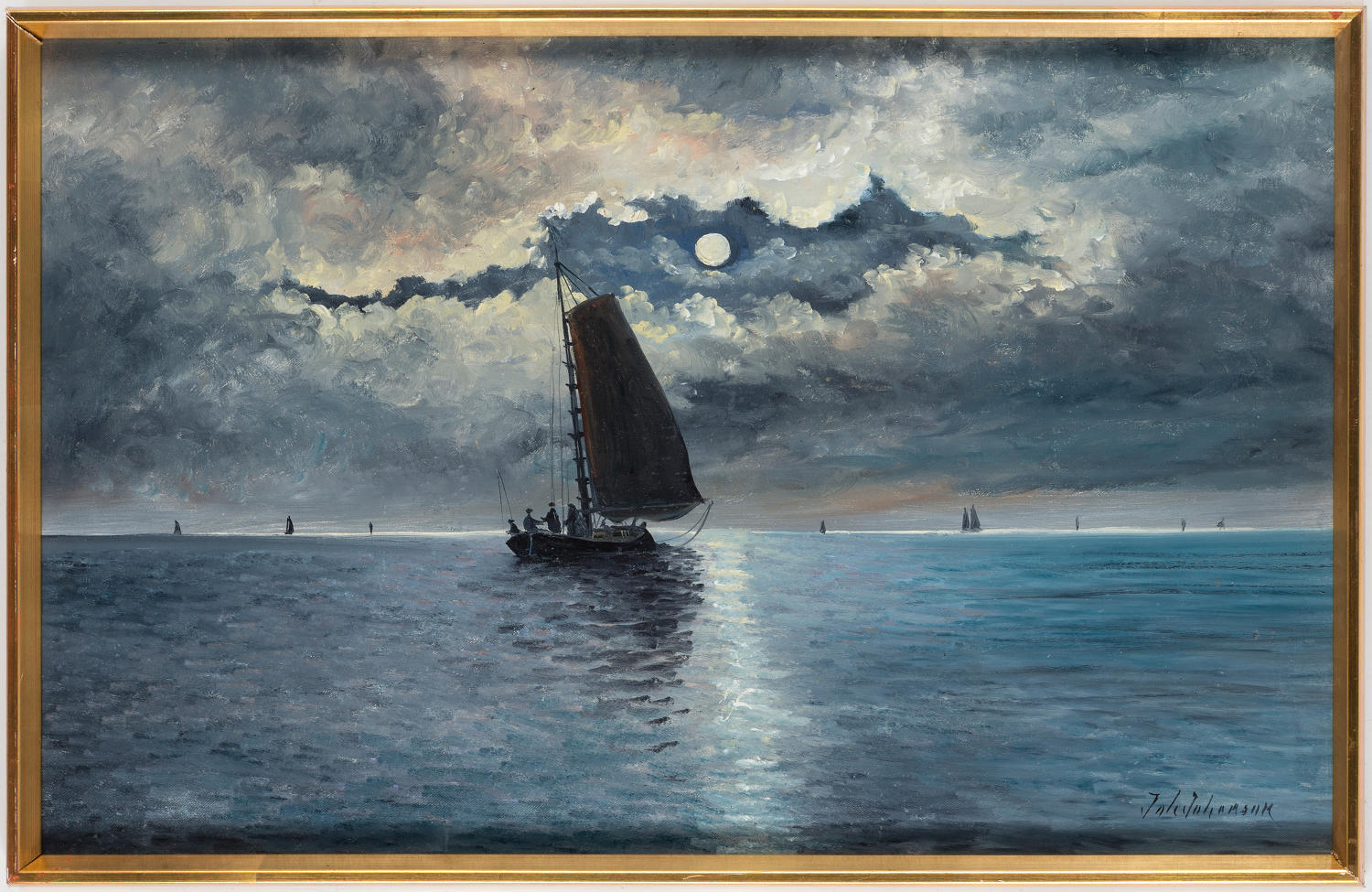 JOH JOHANSON, moon lit sailing boat at sea.