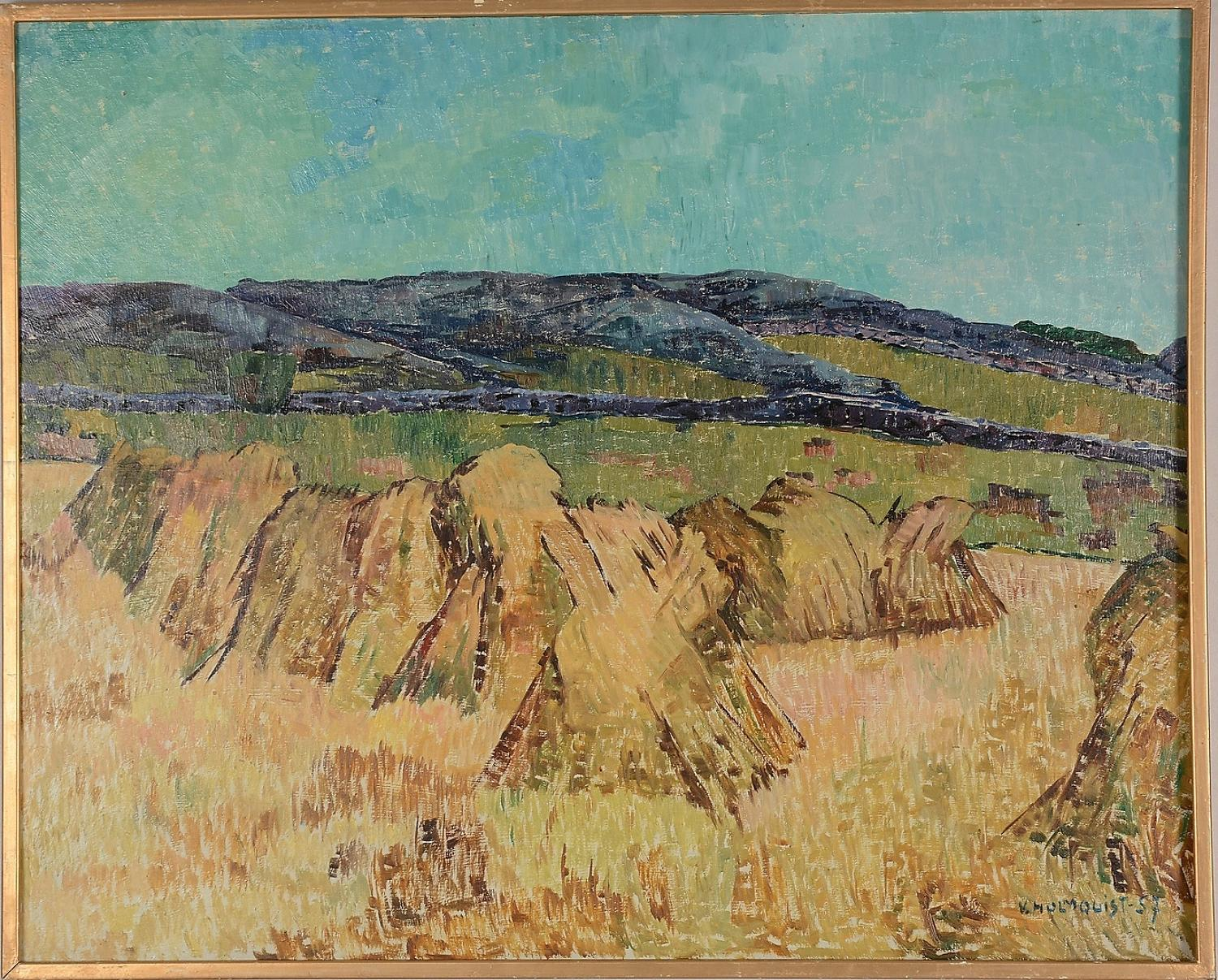 VERNER HOLMQUIST, oil on panel, hay cutting