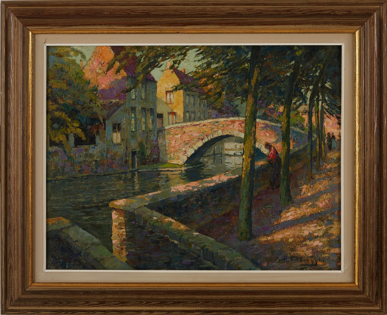 CHARLES HENRI VERBRUGGHE, a canal view in Brugge.