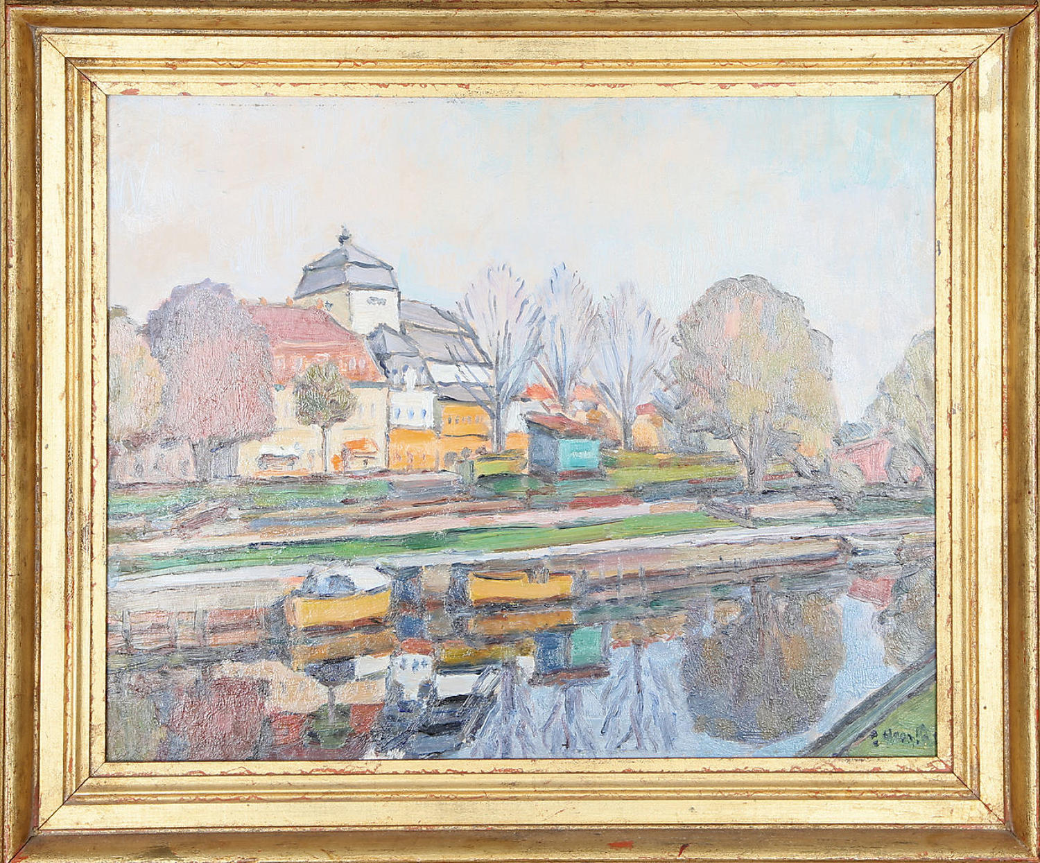 Unknown artist, town canal view