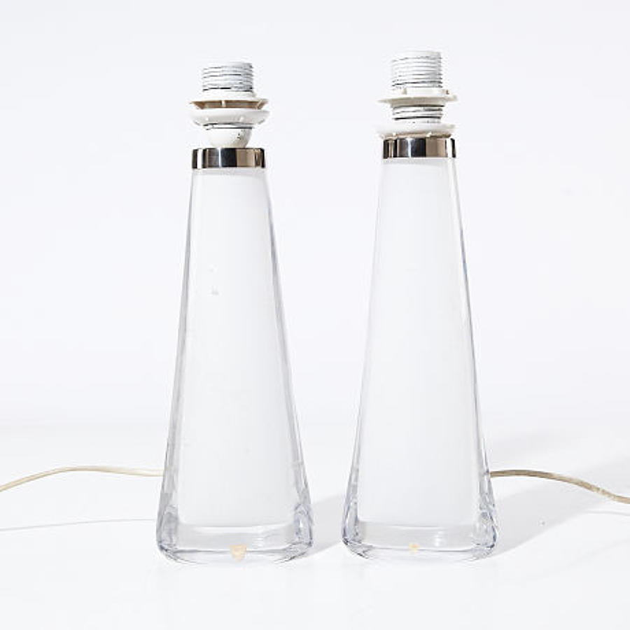 A pair of Orrefors glass table lamps