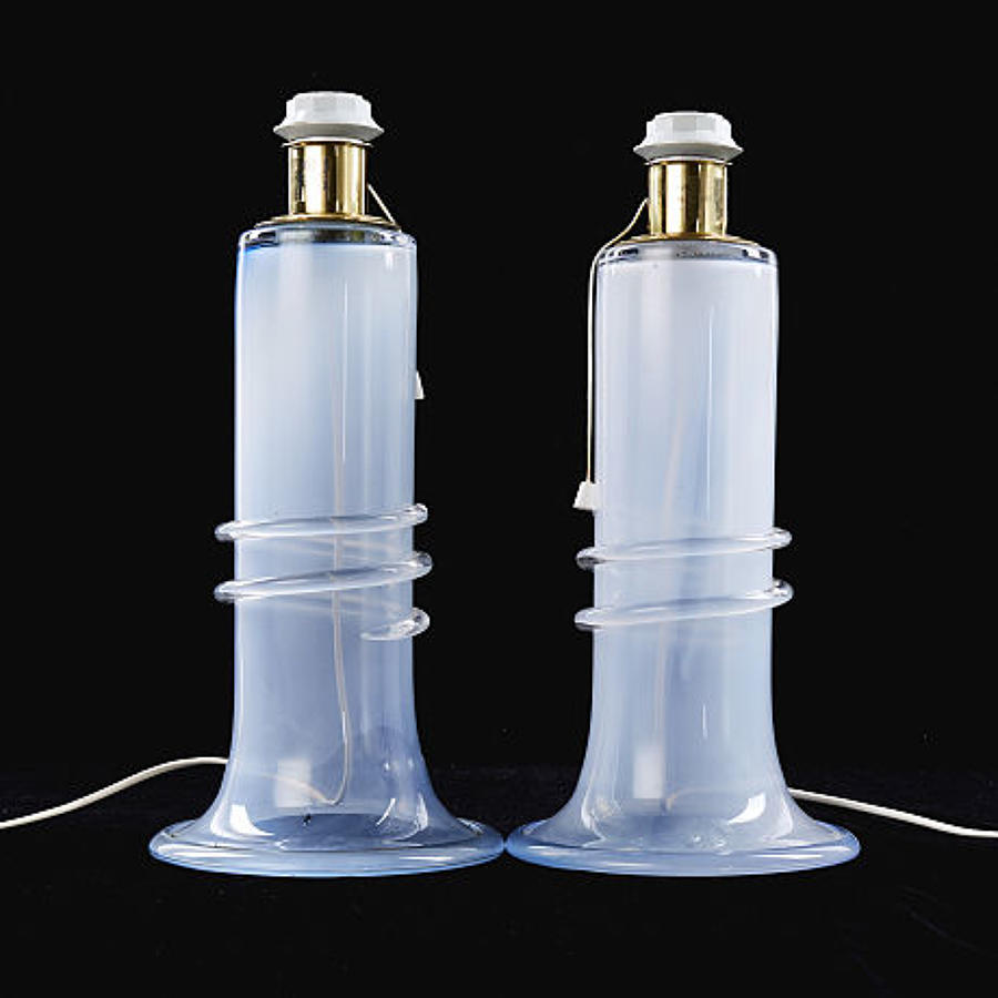 A pair of Swedish glass table lamps