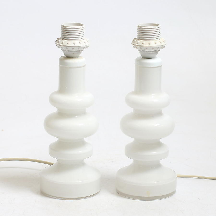 A pair of Swedish white glass table lamps