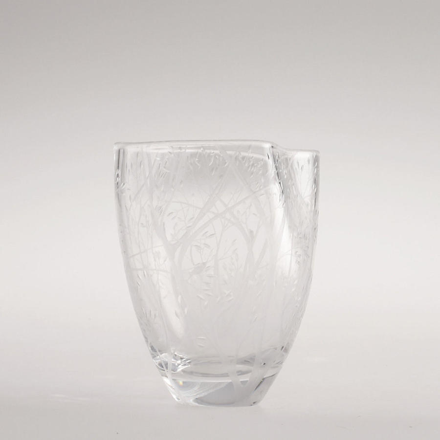 A Swedish engraved glass vase by Kosta