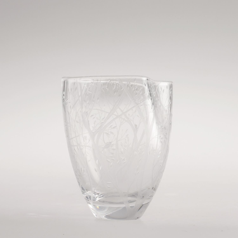 A Swedish engraved glass vase by Kosta