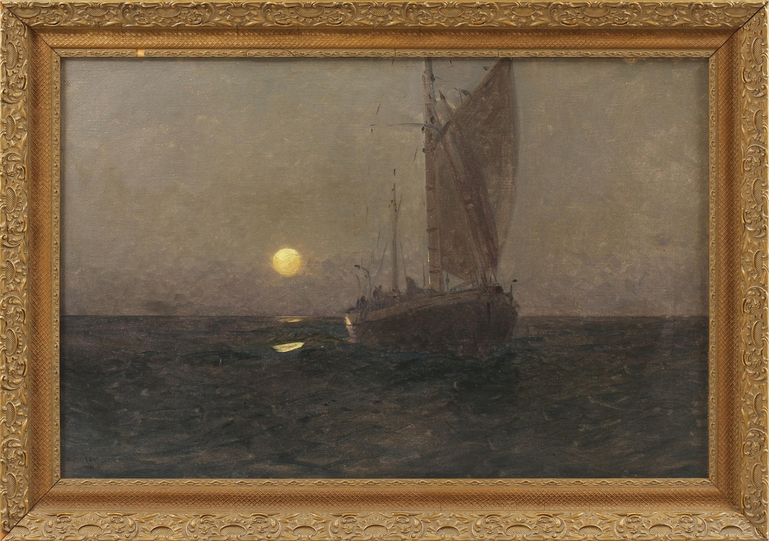 Moon lit boat at sea, oil on canvas