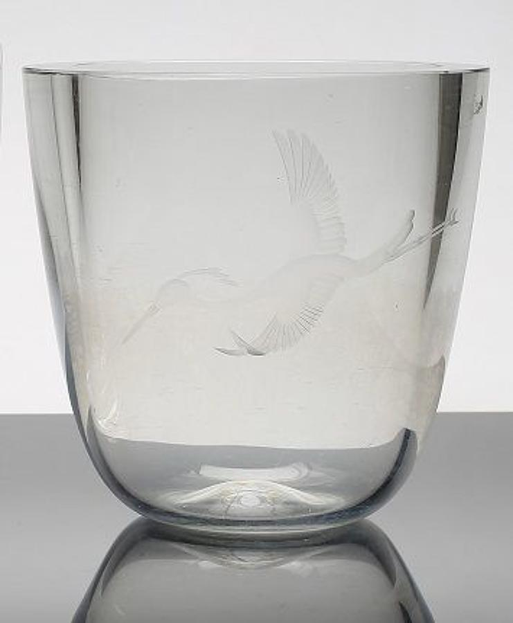 A thick-walled glass vase with engraving, Swedish 19
