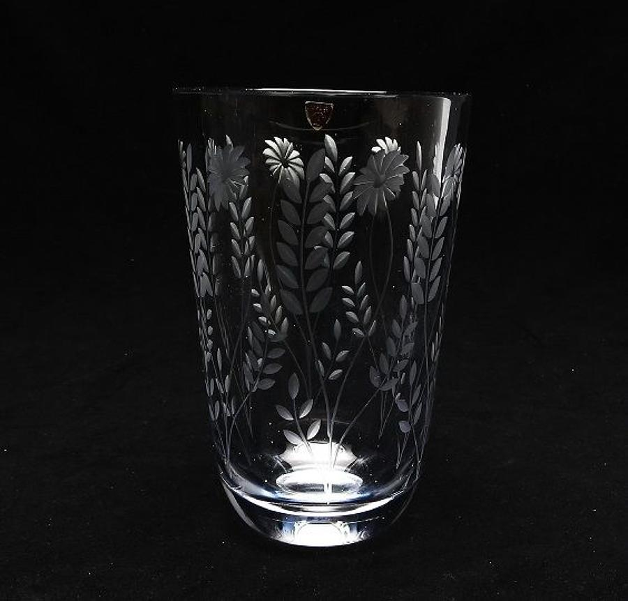 A large Swedish engraved glass vase by Orrefors