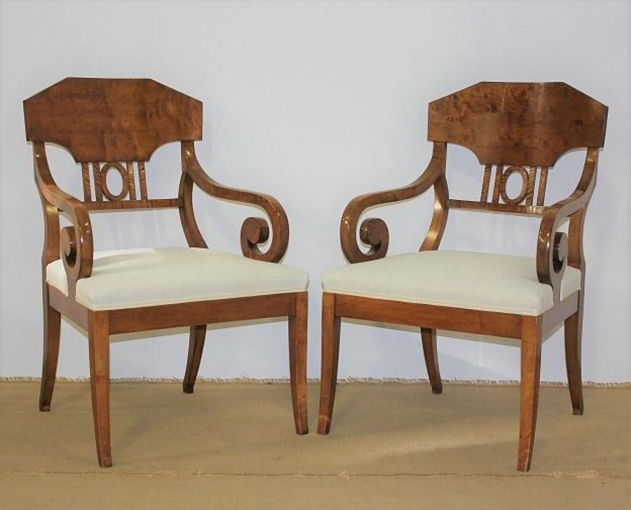 A pair of Swedish Empire revival birch armchairs